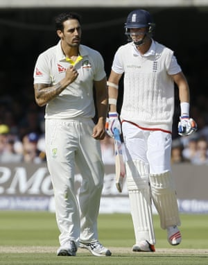 Mitchell Johnson celebrates taking the wicket of Stuart Broad. England look a broken team out there.