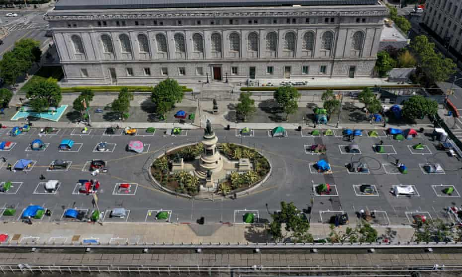 An aerial view of San Francisco's first temporary sanctioned tent encampment for the homeless on 18 May.