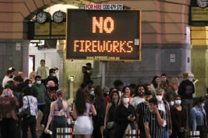 A sign reminding people there would be no fireworks in Melbourne