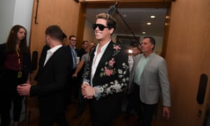 Far-right agitator and former Breitbart writer Milo Yiannopoulos at Parliament House in 2017