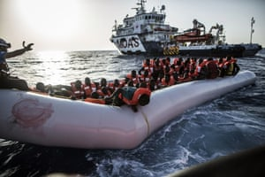 Libyan coast Migrants are rescued by a Migrant Offshore Aid Station team in the central Mediterranean Sea