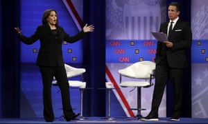 Kamala Harris and Chris Cuomo at the Power of our Pride Town Hall Thursday in Los Angeles.