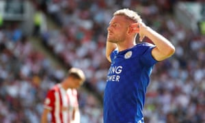 Jamie Vardy celebrates scoring Leicester's first goal against Sheffield United. Brendan Rodgers' side are unbeaten in their first four Premier League games.