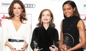 Kate Beckinsale, Isabelle Huppert and Naomie Harris with their awards.