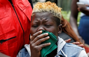 Nairobi, Kenya. A relative of one of those killed in an attack by militants on a hotel and office block in the capital city, visits the mortuary where the bodies have been taken