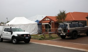 Forensic services attend the scene where three people were found dead in Ellenbrook, Perth