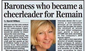 The Daily Mail's profile of 'the always immaculately turned out Baroness'.