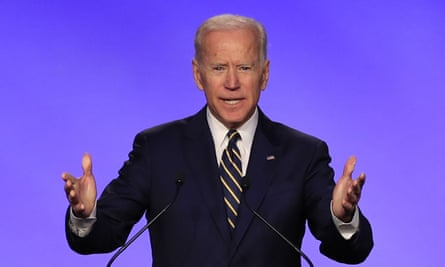 Joe Biden speaks at the International Brotherhood of Electrical Workers construction and maintenance conference in Washington on 5 April 2019.