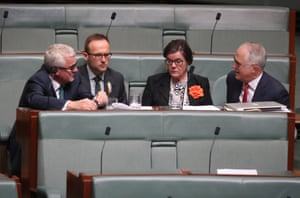 Members of the crossbench: Andrew Wilkie, Adam Bandt and Cathy McGowan speak to Malcolm Turnbull during question time on Wednesday.