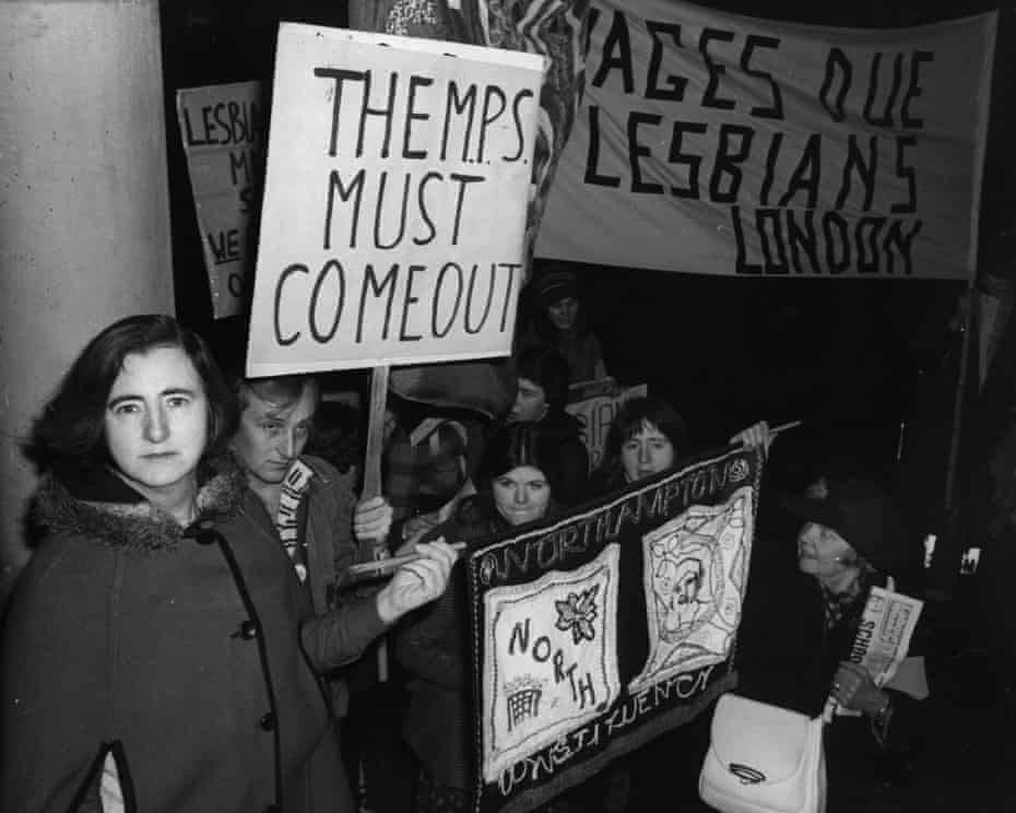 Labour MP Maureen Colquhoun with the Gay Defence Committee, London, 1977