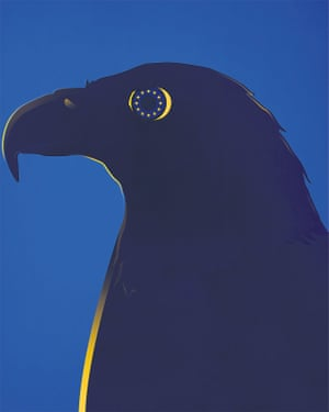 Illustration by Matt Murphy of an Eagle with the stars of the EU flag in its eye.