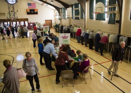 Voters at the Cedarburg community center, in Milwaukee, Wisconsin. Trump has racked up reportedly disproportionate votes in counties using electronic voting.