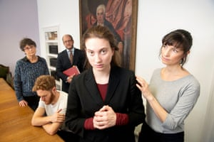 Family judge Stephen Wildblood (rear) with the cast of his play, which explores issues in the family courts