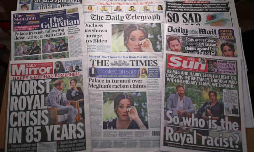 Font pages of UK national newspapers showing the reaction to the interview of the Duke and Duchess of Sussex with Oprah Winfrey.