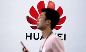 A Huawei logo is pictured at Mobile World Congress in Shanghai.