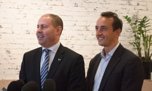 Treasurer Josh Frydenberg on the byelection campaign trail with the Liberal candidate, Dave Sharma