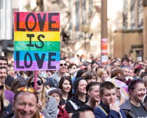 Marriage equality activists march in the street during a Same-Sex Marriage rally in Sydney in August.