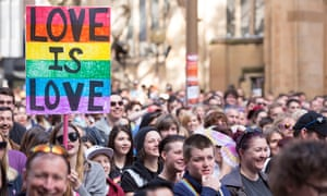 Same-Sex marriage activists march in the street during a Same-Sex Marriage rally in Sydney