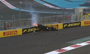 Hulkenberg's car on fire.