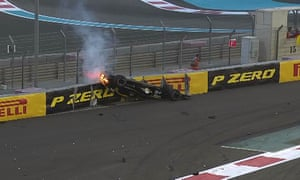 Nico Hülkenberg's car catches fire after his crash on the opening lap of Sunday's Abu Dhabi Grand Prix.