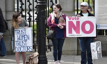 A yes voter in favour of repealing the eighth amendment looks at a no supporter ahead of the referendum last May.