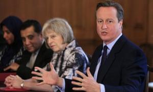 David Cameron, right, with then home secretary Theresa May