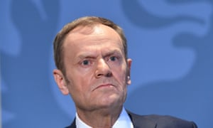 Donald Tusk speaking at his press conference.