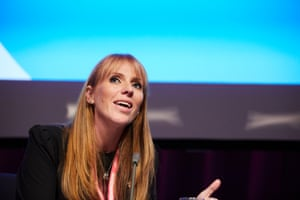 "Shadow education secretary Angela Rayner in conversation with The Guardian's editor-in-chief Katharine Viner. Rayner, who is often talked about as a future party leader, was asked whether she viewed herself as leadership material. She did not rule out a bid for the party's top job: ""Well I think anybody can achieve if given the opportunity to."""