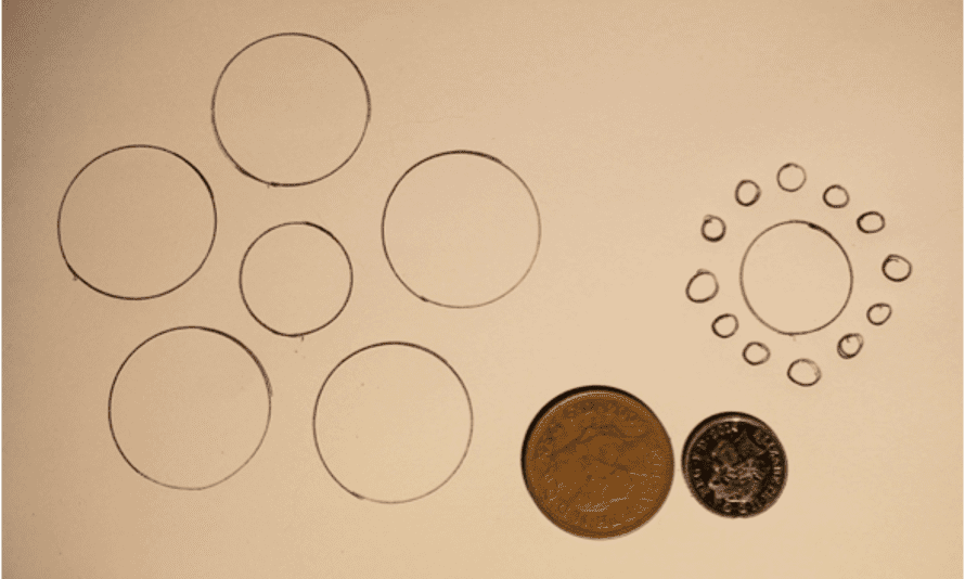 Ebbinghaus illusion with coins