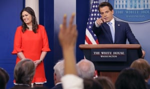 Anthony Scaramucci with Sarah Huckabee Sanders who replaced White House press secretary Sean Spicer, who quit following Scaramucci's appointment as communications director, at the White House in July 2017