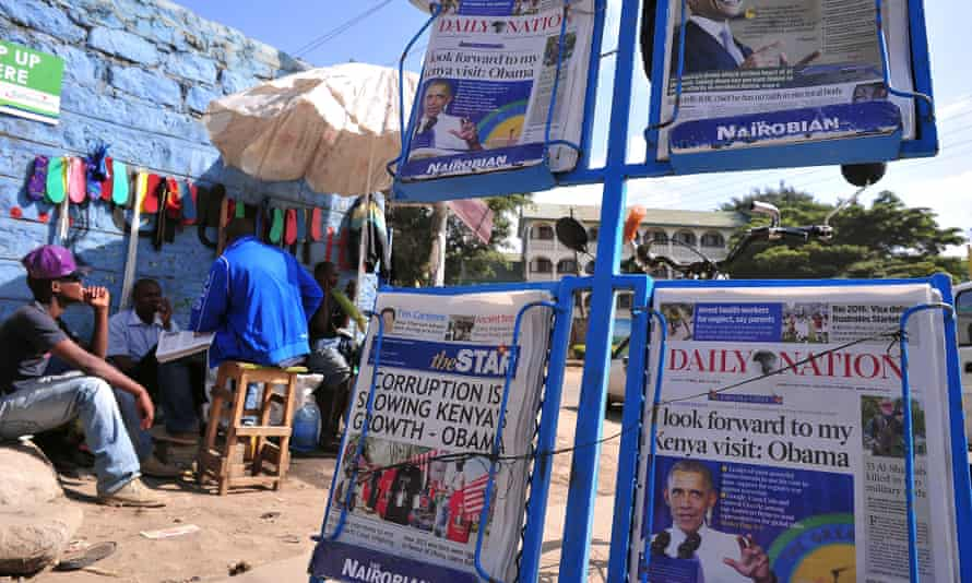 The Daily Nation on display ahead of Barack Obama's visit to the country in July 2015.