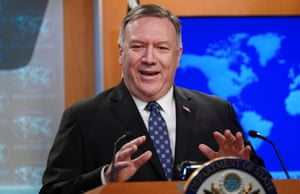 Pompeo addresses a news briefing at the State Department in Washington.