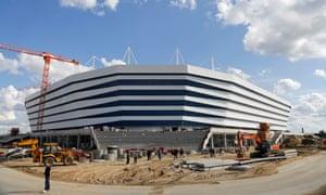 Construction work goes on outside the stadium in Kaliningrad.