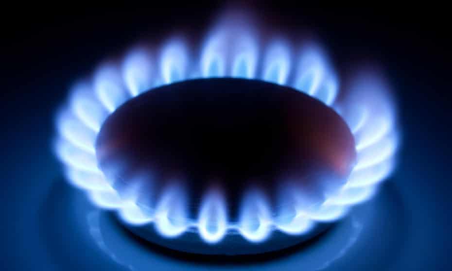 Close-up of a gas hob