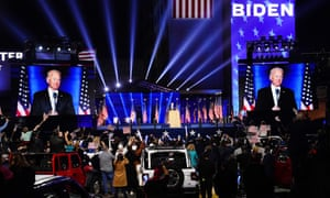 US President-elect Joe Biden delivering his victory address after being declared the winner in the 2020 presidential election in Wilmington, Delaware, USA, on Saturday night