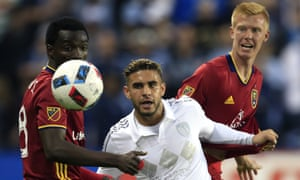 Real Salt Lake pair Sunday Stephen and Justen Glad shut down Sporting KC forward Dom Dwyer. RSL are just a point back of KC after their 2-1 win.