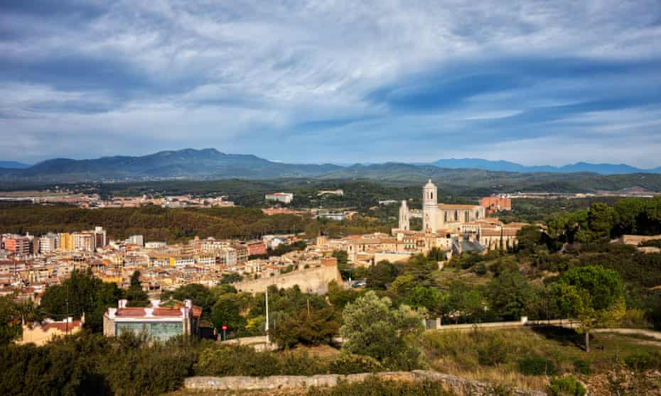 Girona city and landscape view, Spain