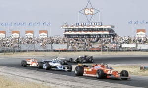 Gilles Villeneuve leads the pack in the Spanish Grand Prix