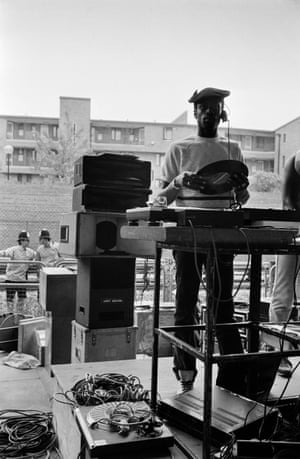 DJ and sound system at Notting Hill Carnival, 1979.