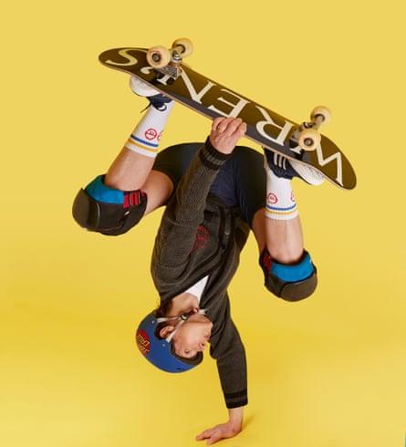 Zoe Williams upside down on skateboard