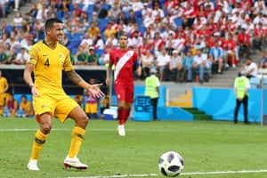 Dejection from Tim Cahill of Australia