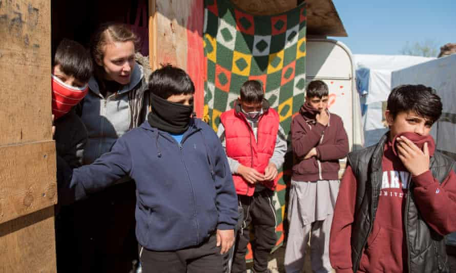 Afghanistan boys aged between 12-13 years at a camp in Calais.