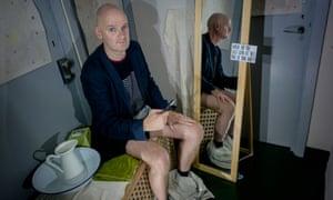 Slight terror … Stuart Jeffries prepares for his portrait.