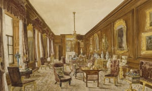 A drawing of the saloon at Erddig, north Wales, c 1849.