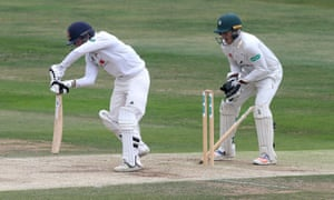 Adam Wheater of Essex is bowled out by Ed 'Barnyard'.