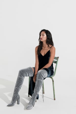 dark grey velvet dress H&M, thigh length grey velvet boots Kurt Geiger