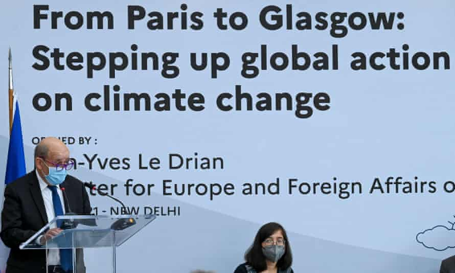 Jean-Yves Le Drian, French minister of Europe and foreign affairs, speaks on climate change in view of COP26.