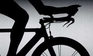 Cyclist with time trial bicycle
