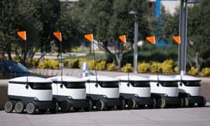 A cluster of Starship robots on the Intuit campus in early March.