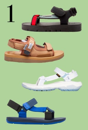 Tech sandals: It's time to reclaim the hiking sandal. Relaxed, with added cushioning, this utilitarian, web-strapped sandal, fastened with Velcro, is the go-to for a summer stroll. From top: black/red, £460, Marni at matchesfashion.com. Yellow, £155, Suicoke at endclothing.com. White, £80, Teva at brownsfashion.com. Blue, £75, camper.com